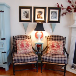 pair of plaid chairs