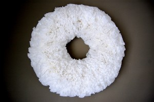 hot glue a coffee filter wreath