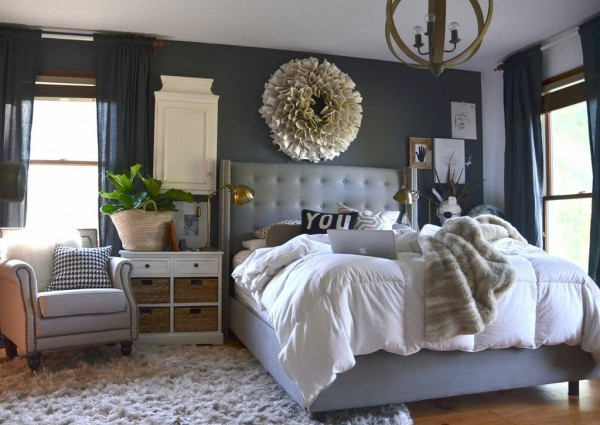 Our wood white and gray bedroom for Dark grey furniture paint