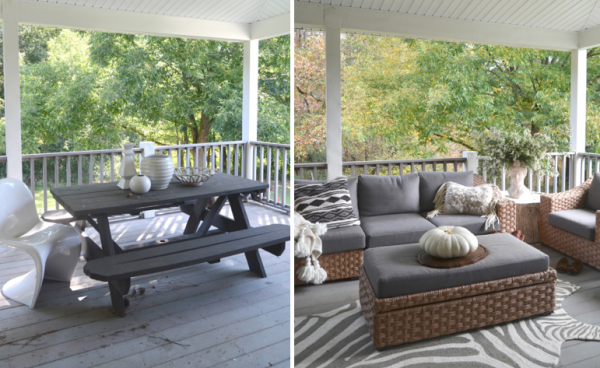 before & after of porch